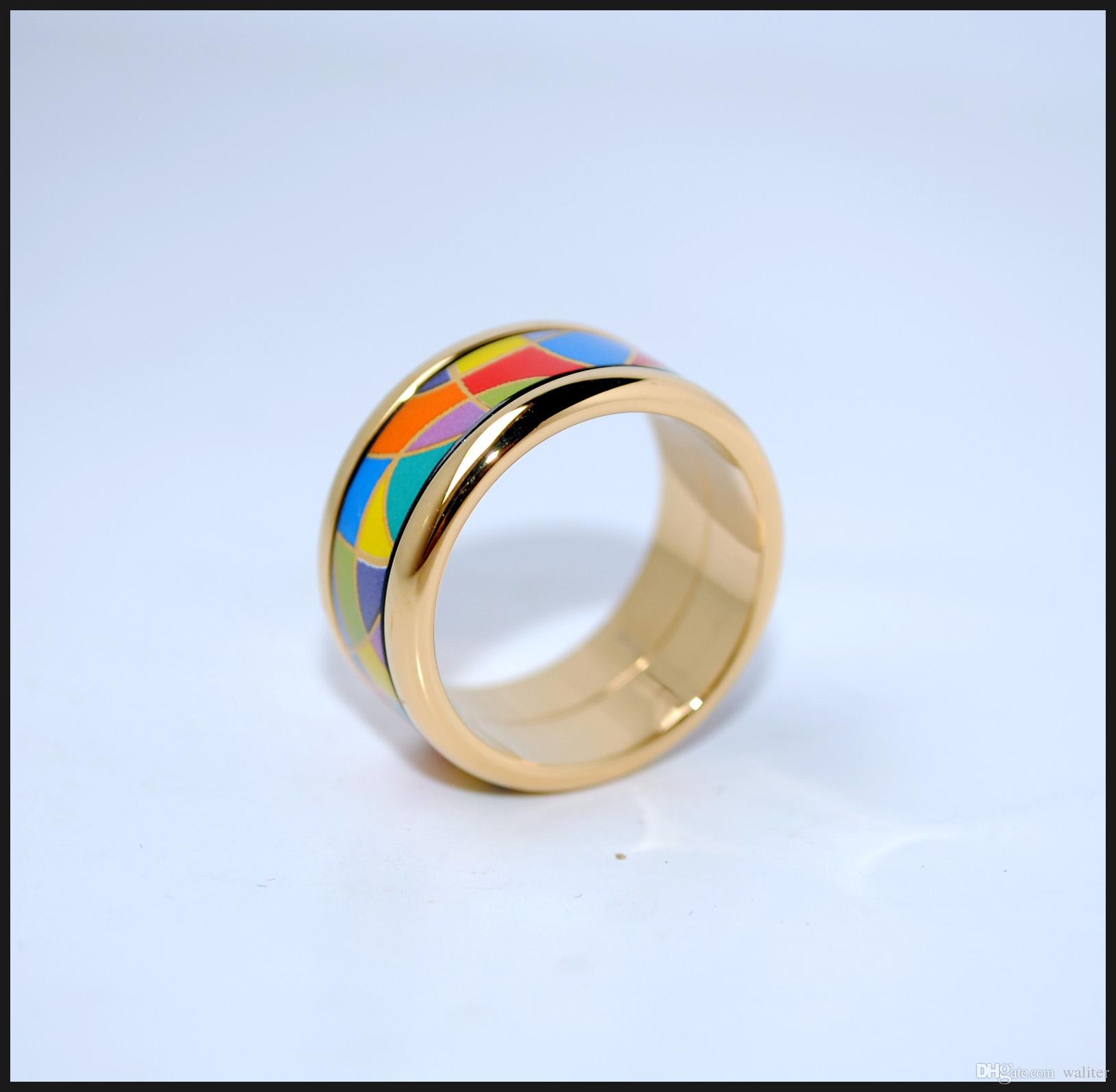 Enjoy Life Series 18K anillos de esmalte dorado Anillo de calidad superior para mujeres anillos de banda para regalo