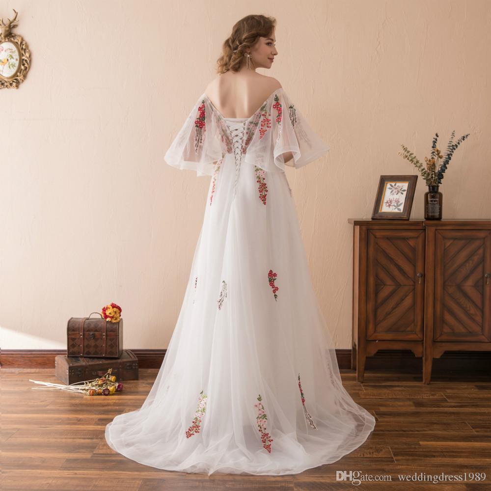 Impresionante bordado floral blanco vestidos de noche largos vestidos stock 2-16 hombro tulle una línea de flores vestido de fiesta baile formal