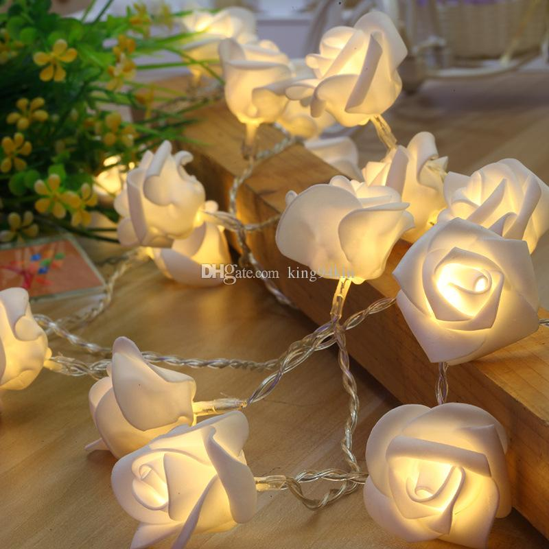 Led 16ft 5m 40 white Rose String lights Battery powered Color Mixed Party Patio Wedding Christmas Festival ornament Decor Lamp Lighting