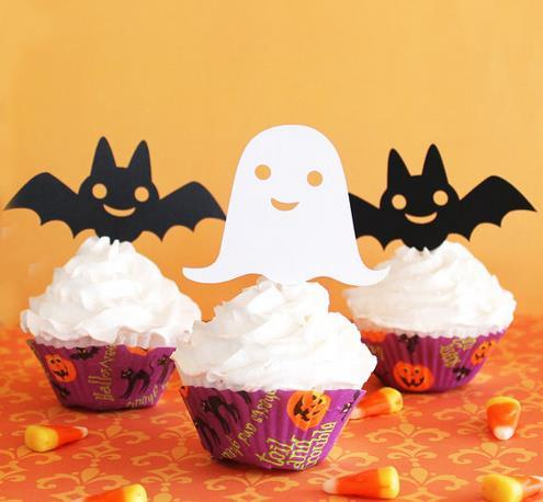 cheap Custom 30pcs Ghost and Bat Halloween cupcake toppers girl Birthday wedding bridal shower baby shower party Decoration Supplies