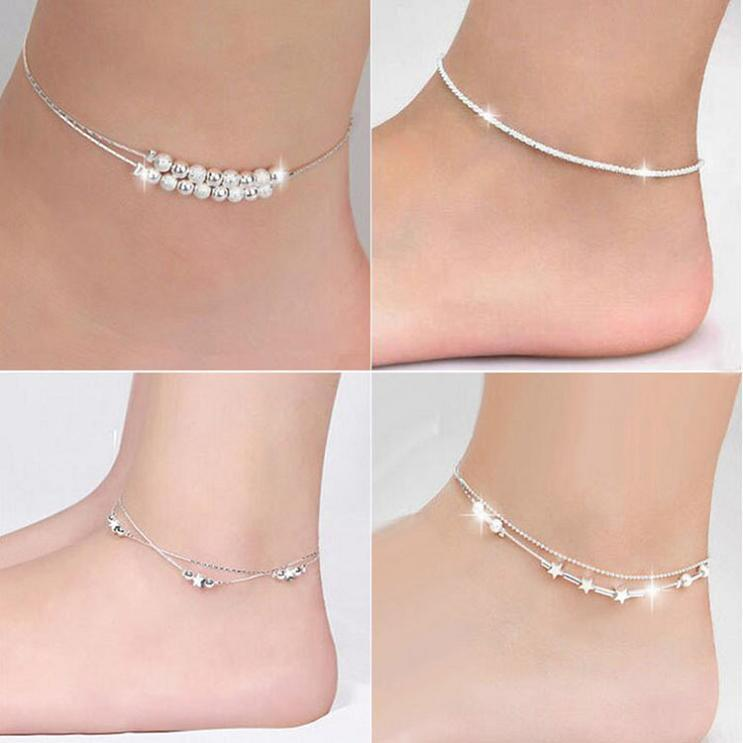Silver Anklets Bracelets Hot Sale Link Chain Anklet For Women Girl Foot Bracelets Fashion Jewelry Wholesale Free Shipping 0343WH-40
