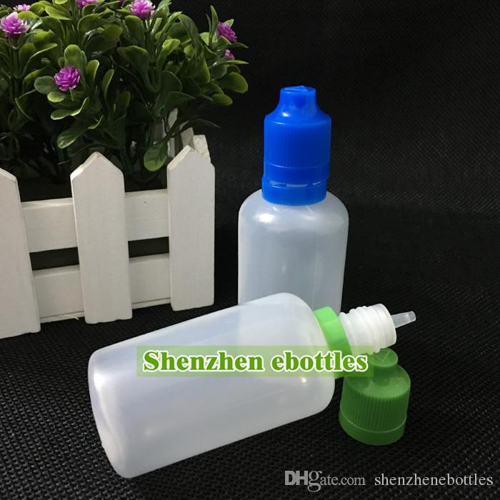 di trasporto di vendita calda all'ingrosso bottiglia di plastica E-sigaretta a prova di bambino manomissione tappo e lunga sottile punta del contagocce bottiglie di plastica del contagoccia 50ML PE