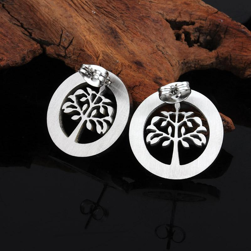 Hot Selling Fashion Ladies Stainless Steel Jewelry Crystal Lift of Tree Pendant & Earring Set with chain