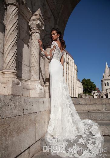 Elegante neue Ankunfts-Weinlese-weiße Brautkleider Bloße lange Ärmel SpitzeAppliques Brautkleider Mit overskirts Brautkleider nach Maß