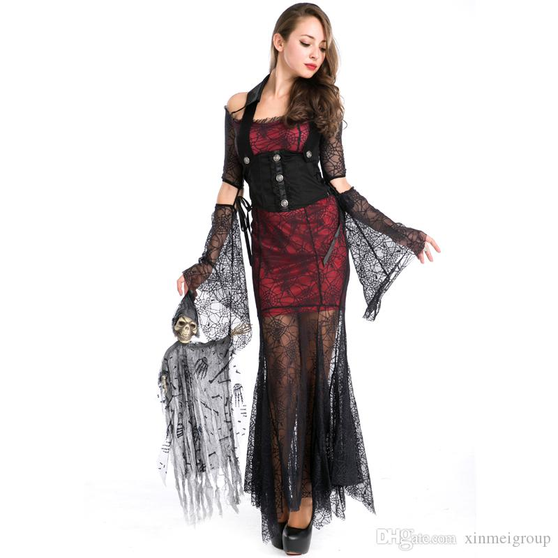 8787935c53d Gothic Vampires Costume New Arrival Adult Women Halloween Cosplay Lace  Patchwork Fancy Long Dress Devil Maleficent Witch Costume A158533 Pirate  Halloween ...