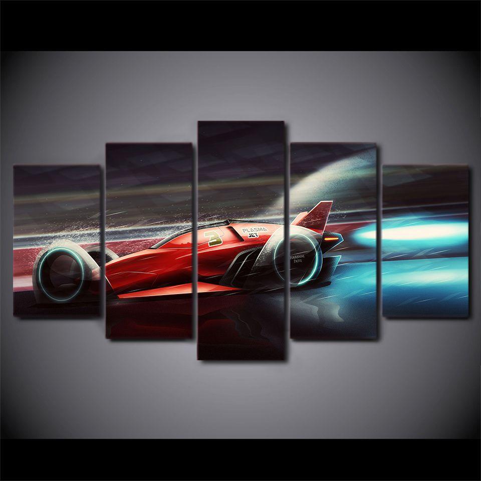 5 Pçs / set Velocidade Carro Esportivo Vermelho Corrida Canvas Pinturas Home Decor Arte Da Parede Emoldurado Cartazes HD Prints Fotos Pintura
