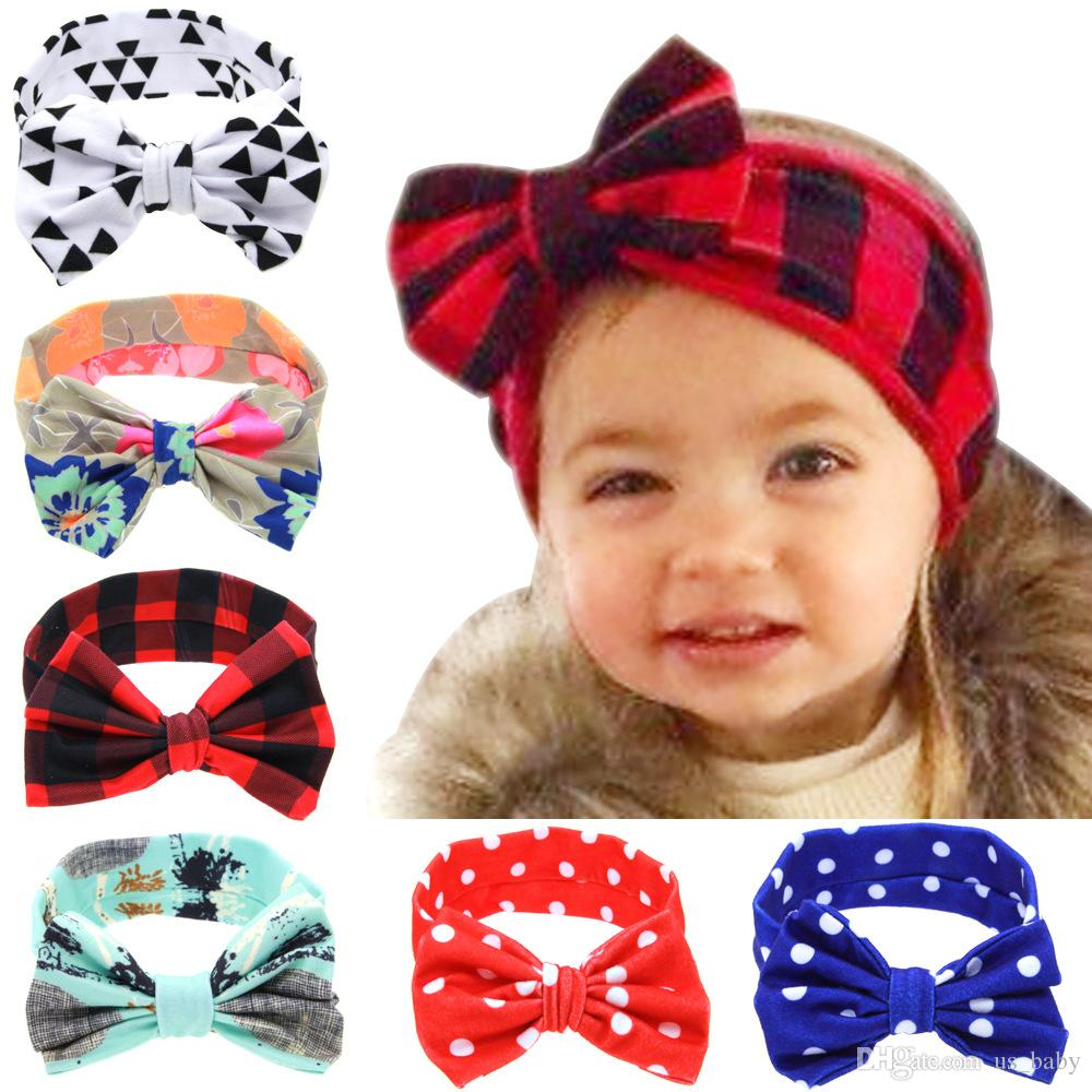 1b34927cd71 Infant DIY Headband Girls Plaid Dots Triangle Print Rabbit Ears Hairband  6styles Baby Turban With Bow Head Wrap Hair Accessories Female Hair  Accessories ...