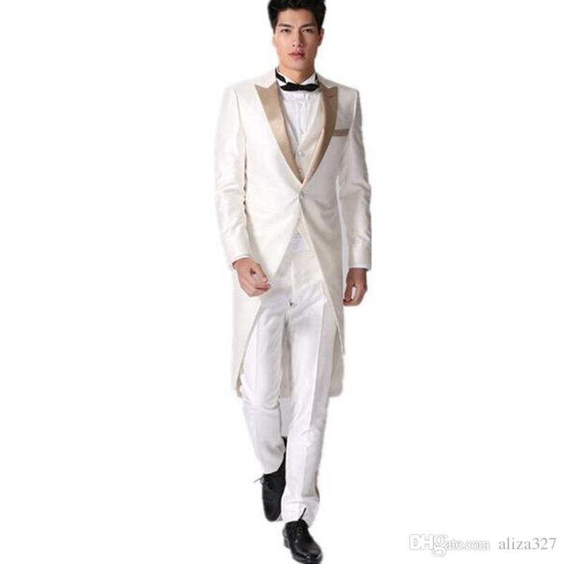 5229d5da3a5ba High-end men s prom party tuxedo white elegant gentleman wedding groom  formal suits four-piece suit 3 pieces (jacket pants vest tie)
