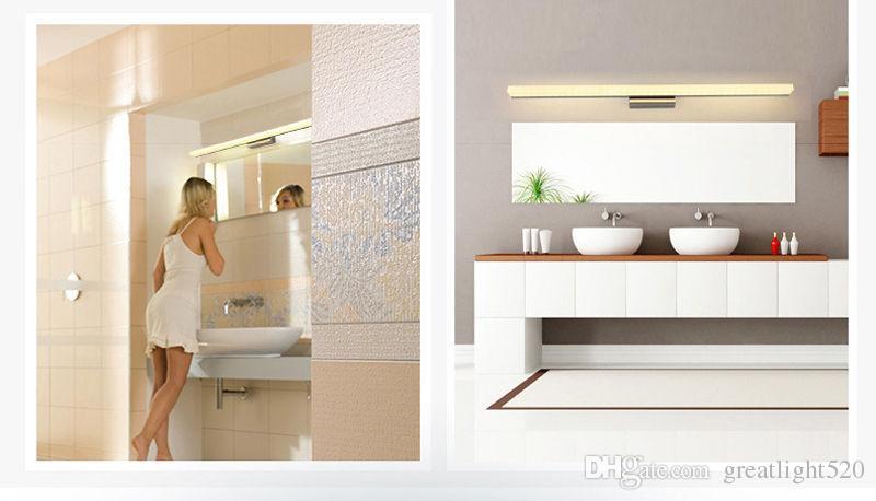 Casa de banho Espelho de Luz Led Wall Light espelho frontal Maquiagem iluminação LED Waterproof Anti-embaciamento Acrílico LED Wall Espelho de Luz # 02