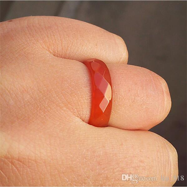 100 % 천연 옥 반지 검정색 붉은 마노 반지 측면 여성과 남성을위한 고품질 쥬얼리 반지
