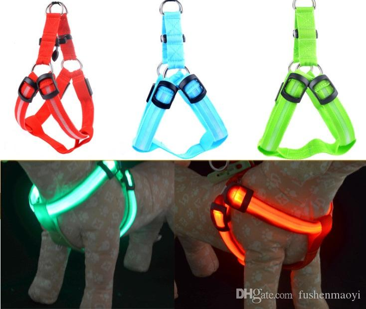 Brand new Pet supplies series LED Nylon Dog Chaist Strap Night safety LED flashing light glow in dark PET dog cat chaist strap