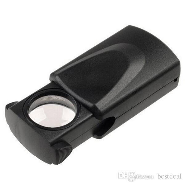 30x21mm Loupes LED Light High-Powered Jewel Magnifying Glass Jewelry Magnifier Jeweller Loupe Pocket Microscope MG21008 Retail box