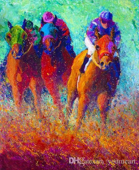 Giclee животных скачки масляной живописи искусства и холст украшения стены искусства масляной живописи на холсте 60X90cm MRR200