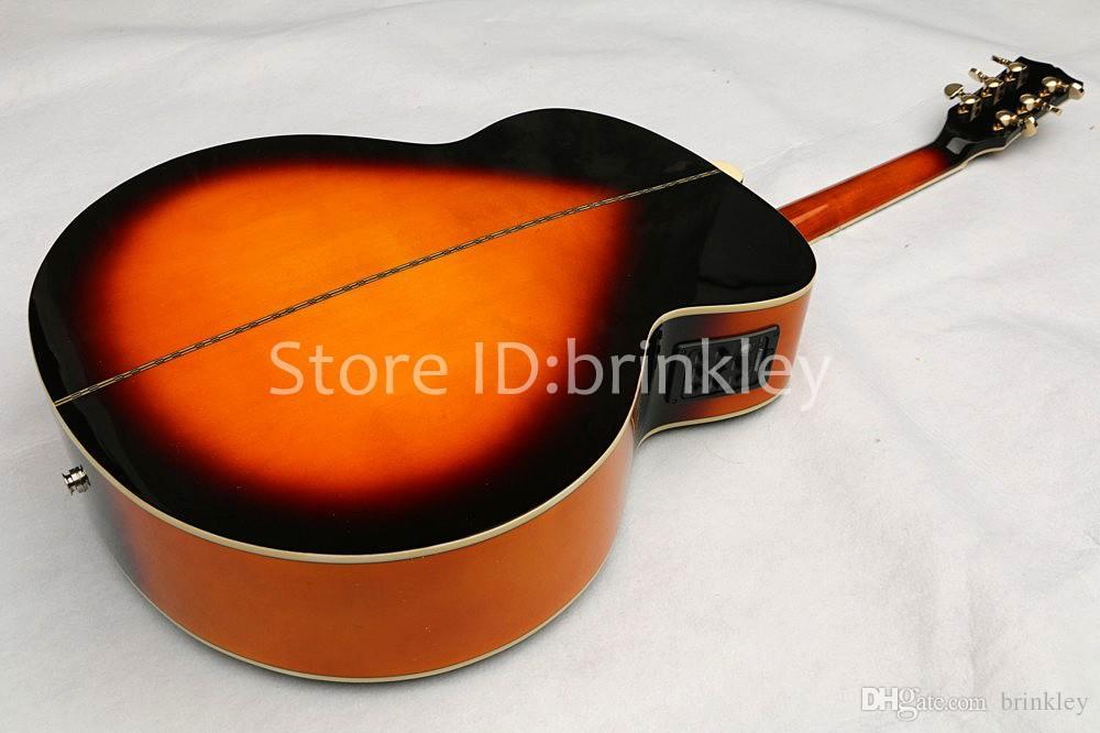 Brinkley 새로운 도착 불꽃 메이플 솔리드 맨 햇살 어시스턴트 어부와 함께 J200 일렉트릭 기타, 무료 배송
