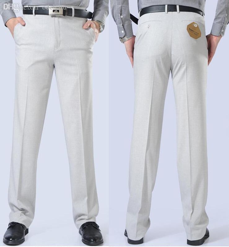 773d1714c7 Wholesale-2016 New Fashion Summer Suit Pants Linen Men's Dress Pants  Business Casual Easy Care Classical Trousers