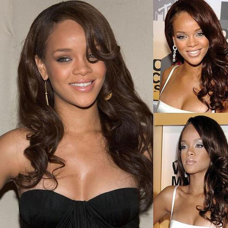 Super Soft # 4 Unverarbeitete brasilianische reine Menschenhaar Natural Wave Glueless Lace Front Perücken für schwarze Frauen