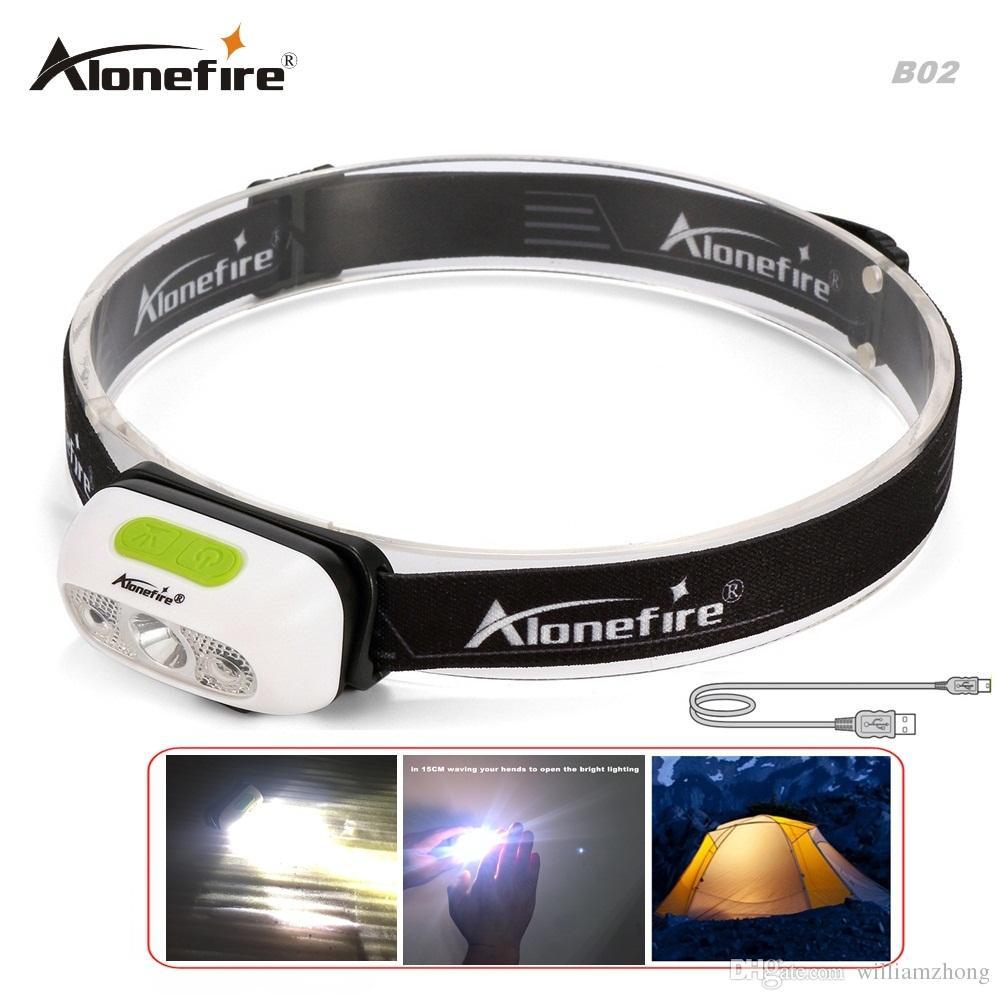 AloneFire MT-B02 Induction led lampe frontale CREE XP-G2 phare USB Lampe frontale étanche pour phare Pile au lithium intégrée Lumières de lanterne