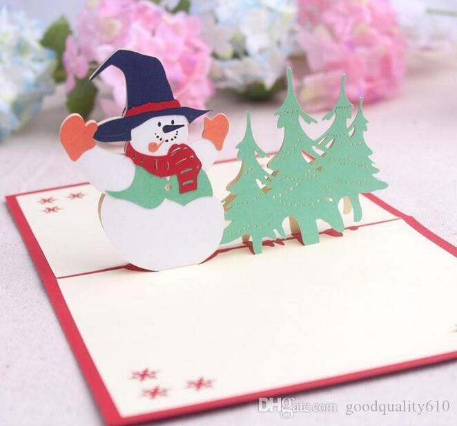 Snowman Handmade Kirigami Origami 3D Pop UP Greeting Cards Invitation Postcard For Birthday Christmas Party Gift