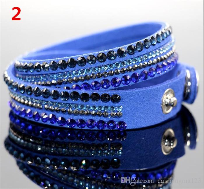 Multilayer Wrap Bracelets Slake Deluxe Leather Charm Bangles With Sparkling Crystal Women Sandy Beach Fine Jewelry Gift D952