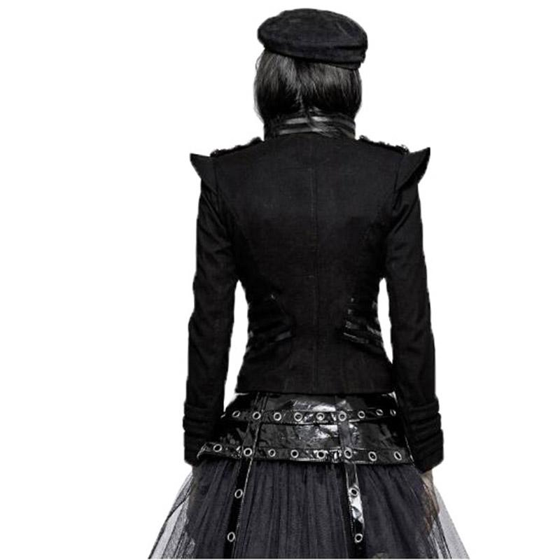 Rock Punk Gohtic Ranas Militar Chaqueta Corta Para Las Mujeres 2017 Primavera Otoño Moda Chaquetas de las mujeres de manga larga Sliming Fit Escudo