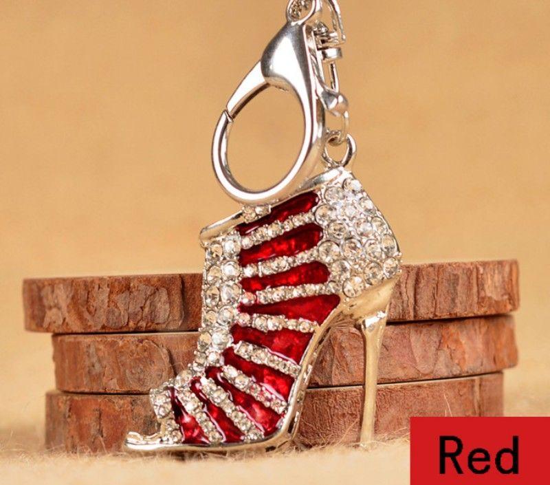 Moda 3D Sapatos Chaveiros Novidade Sapato De Salto Alto Chaveiro Bolsa Bolsa Encantos Strass Decoração Sandália Chaveiro Presentes C1L