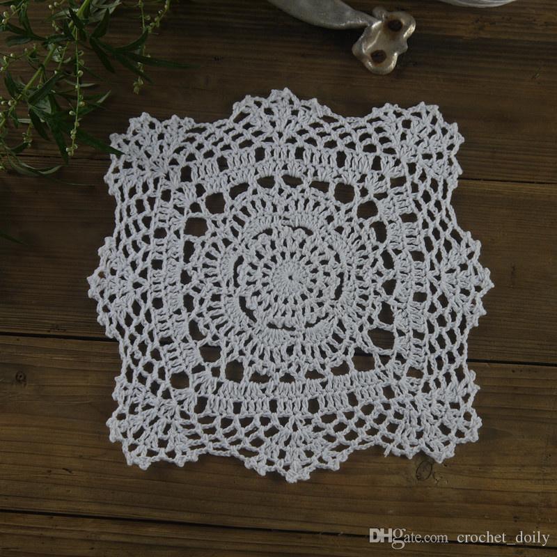 de 14 napperons au crochet 3 Rose 6 Blanc 5 Beige Taille 6