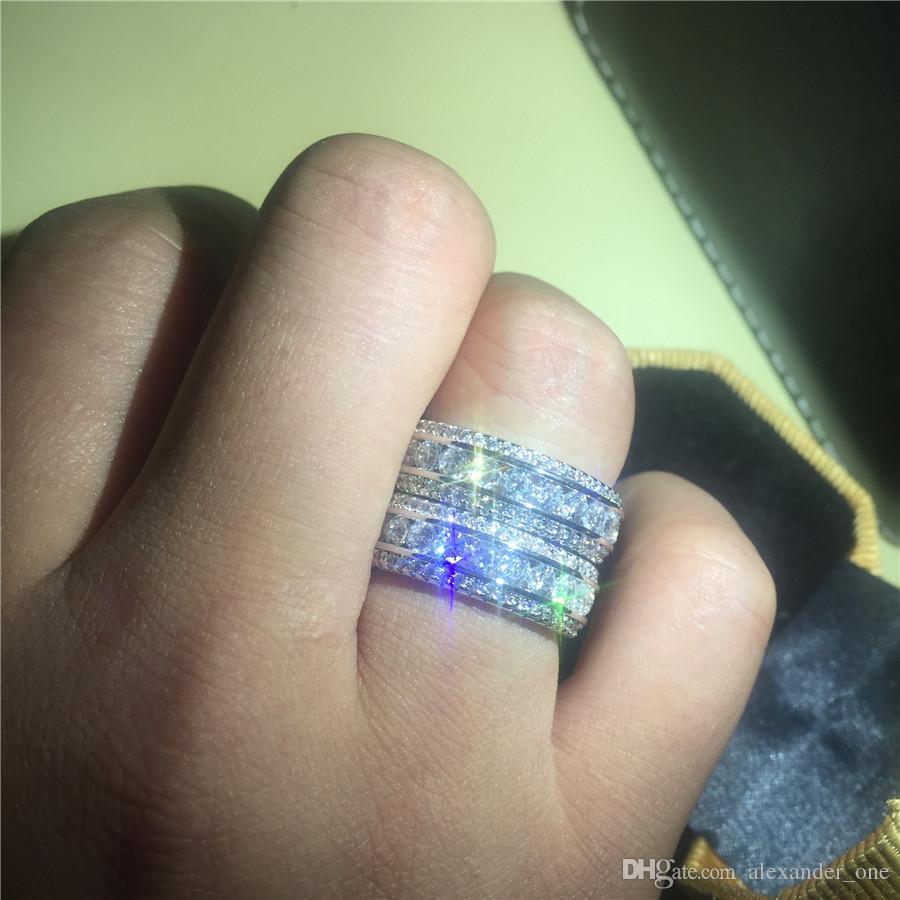 Роскошные высококачественные Аутентичные 10-каратного белого золота, наполненные драгоценными камнями, Кольца с паве, Имитация бриллиантовых колец, Европейские Женщины, мужчины, стиль