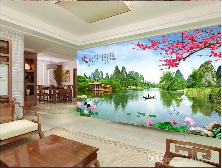 3d خلفيات صورة مخصصة غير المنسوجة جدارية الصينية المشهد حديقة غرفة الديكور اللوحة 3d جداريات ورق الجدران 3d