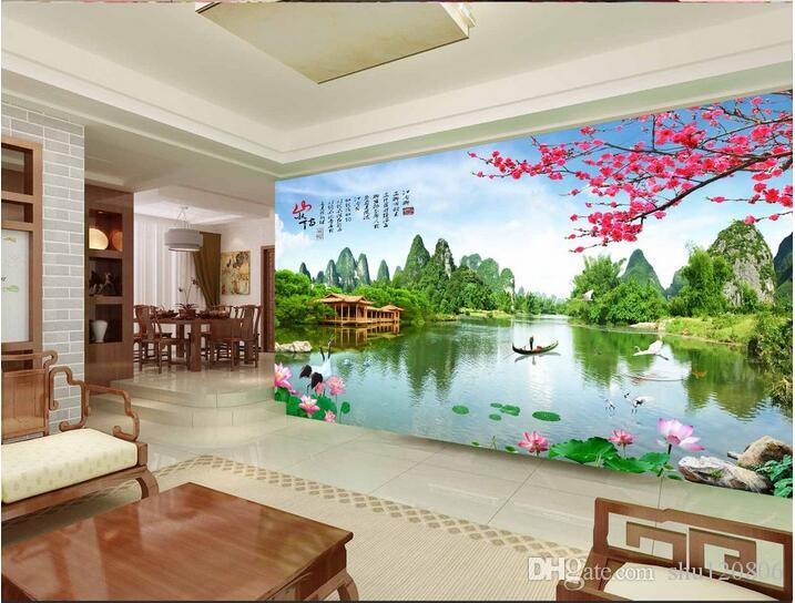 3d wallpaper custom photo non-woven mural Chinese landscape garden room decoration painting 3d wall murals wallpaper for walls 3d