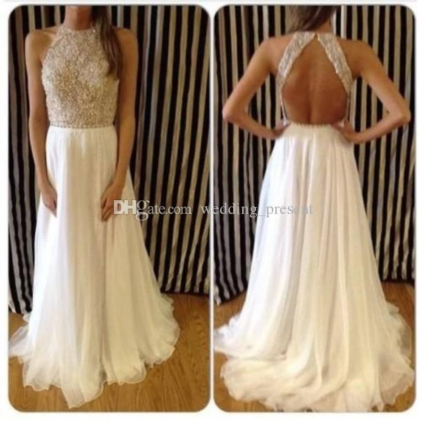 Blackless Beaded Prom Dresses 2017 Sexy Halter Formal Evening Dress with Beads Sweep Train Party Gowns 2016