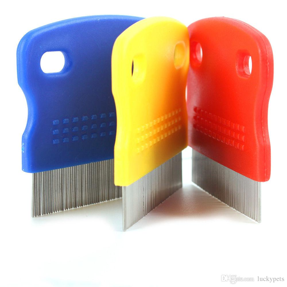 Pet Cat Dog Flea Fine Toothed Clean Comb Hair Brush Soft Protection Steel Small With Red Blue Yellow