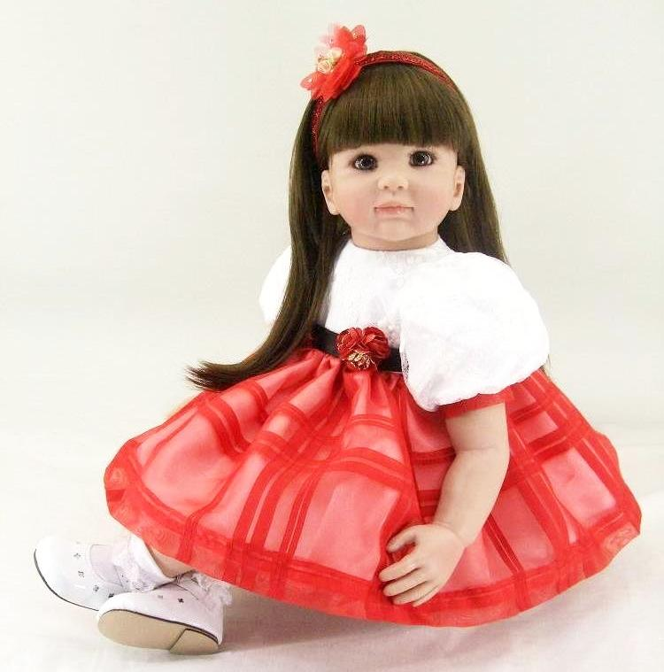 "22"" Adora Toddler Reborn Doll Gifts Toddler Baby Dolls Girls Princess Dolls Toys in Luxury Pink Lace Doll Dress"