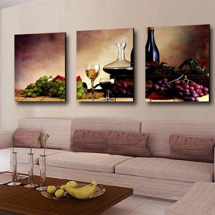 3 pezzi spedizione gratuita parete moderna pittura a olio astratta vino frutta cucina wall art pittura su stampe su tela