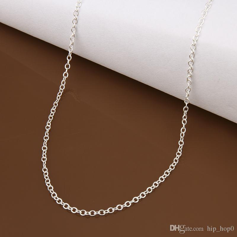 925 Sterling Silver Rolo Chain Necklace 1MM 8 letter Cable Chain Fashion Silver Plated Chains 18inch Jewelry Copper Silver Plated