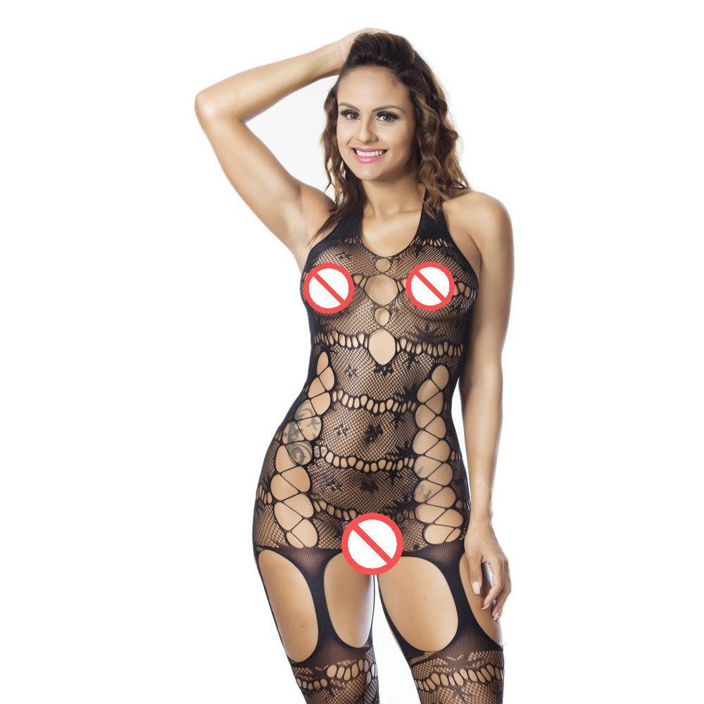 Kadınlar Halter Sexy Lingerie Seksi Bodystockings şeffaf Açık Crotch Bodysuits netleştirme Seks oyuncakları baştan çıkarıcı Tüm vücut çorap