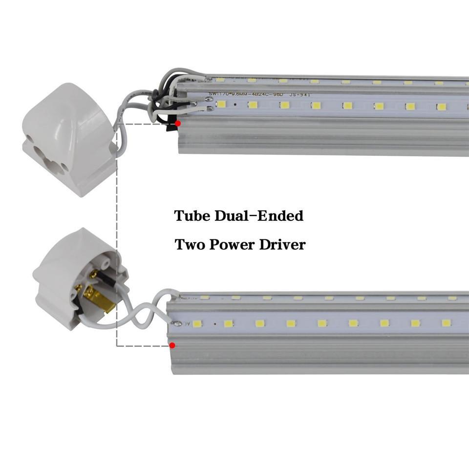 T8 V 모양 8 피트 LED 튜브 조명 통합 8 피트 쿨러 도어 조명 더블 행 상점 조명기구 플러그 앤 플레이