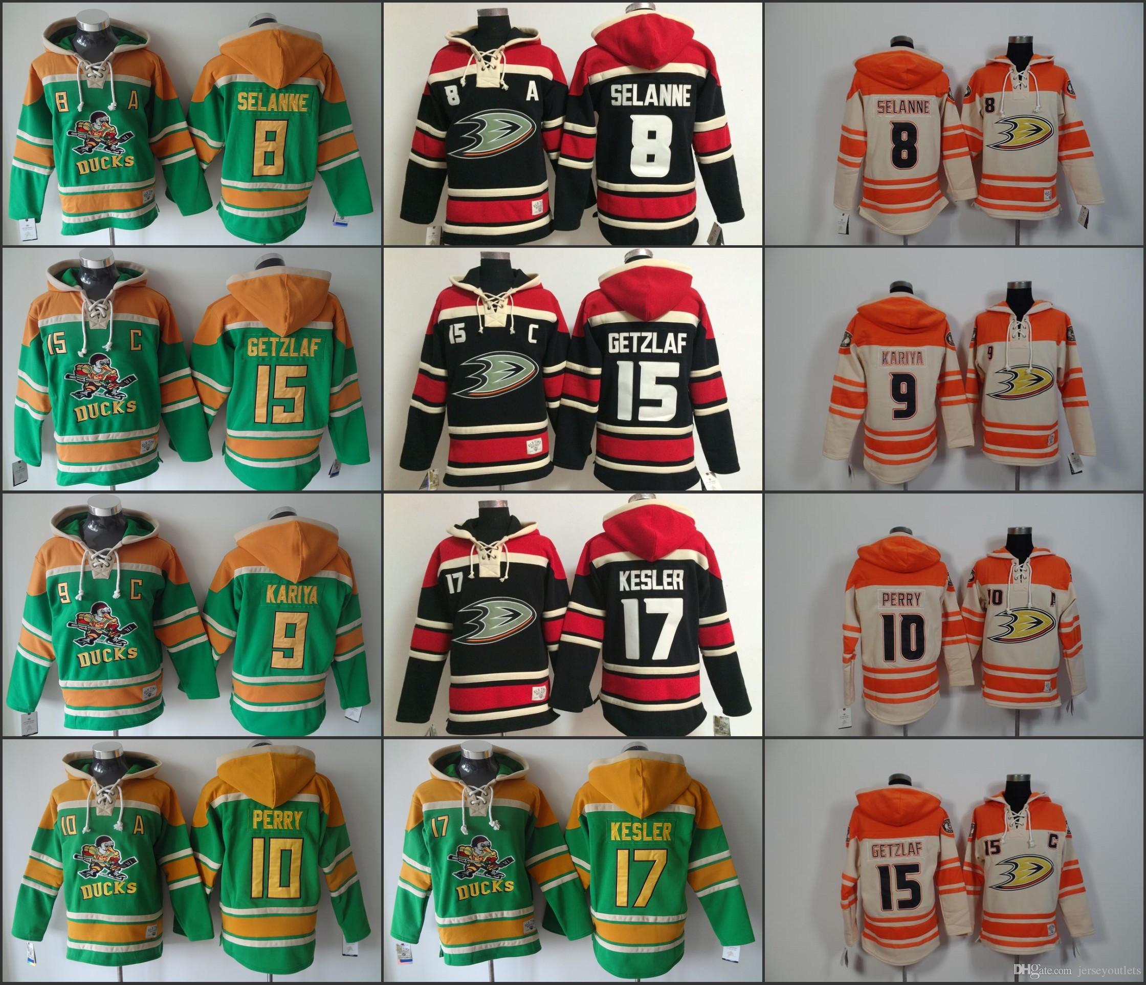 Best Anaheim Ducks Hockey Men Jerseys 8 Teemu Selanne 9 Paul Kariya 10  Corey Perry 15 Ryan Getzlaf Hockey Hoodie Hooded Sweatshirt Jackets Jersey  Under ... aba86d7f3