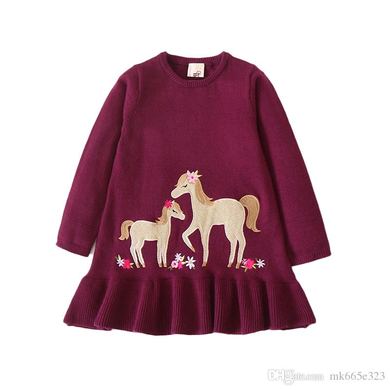 91680e80d9a3 2019 Baby Girls Knitting Dresses Children Autumn Winter Clothes Fashion  Embroidered Horses Floral Ruffle Hem Pullover Kids Sweaters Fall Clothing  From ...