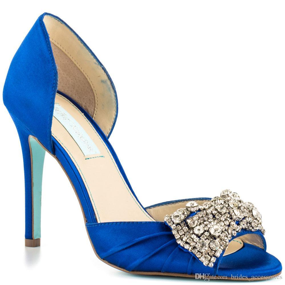 fc36cd5cb0 Blue Satin Rhinestone Wedding Shoes Stiletto Open Toe Made-to-order Women  Sandals Slip-ons Shoes Women Formal Evening Party Dancing Shoes