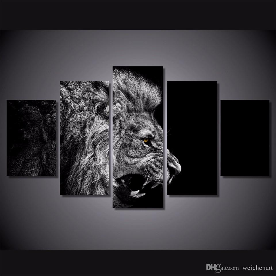 / Set Nein gerahmt HD Printed Löwe weiß schwarz Malerei-Leinwand-Druck Raumdekor Druckplakat Bild Leinwand rahmenlos Malerei