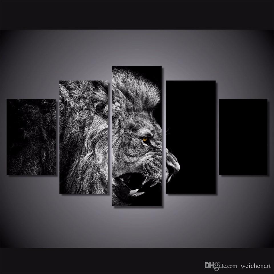 5 pièces / Set Non encadrée HD imprimé lion blanc Peinture noir toile Impression chambre décor Impression sur toile l'image de l'affiche peinture sans cadre