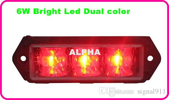 High intensity Dual color 6*3W led car strobe warning light,emergency lights,lightheads,police light,15 flash,waterproof