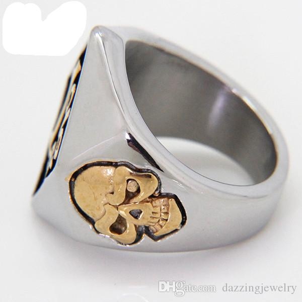 High Quality Hot Sale 316L Stainless Steel 18k Gold Silver 100% Men's 1% er Biker Skull Ring with one percent symbol