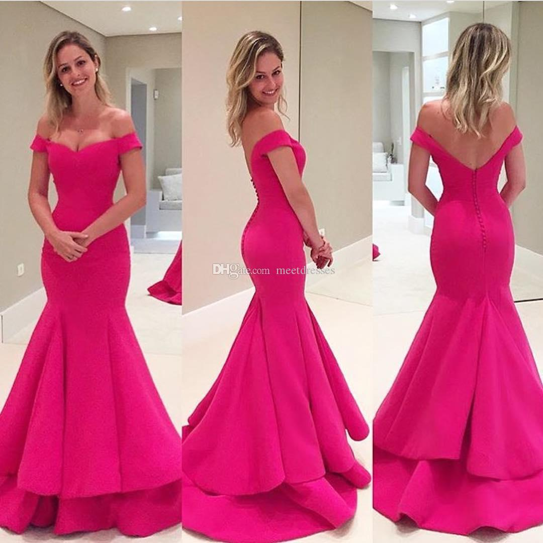2017 Hot Pink Prom Dresses Mermaid New Style Modest Off The ...