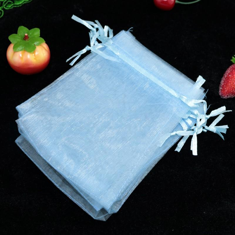 Light Blue Bolsas Organza Drawstring Pouches Jewelry Party Small Wedding Favor Gift Bags Packaging Gift Candy Wrap Square 5X7cm 2X2.75''