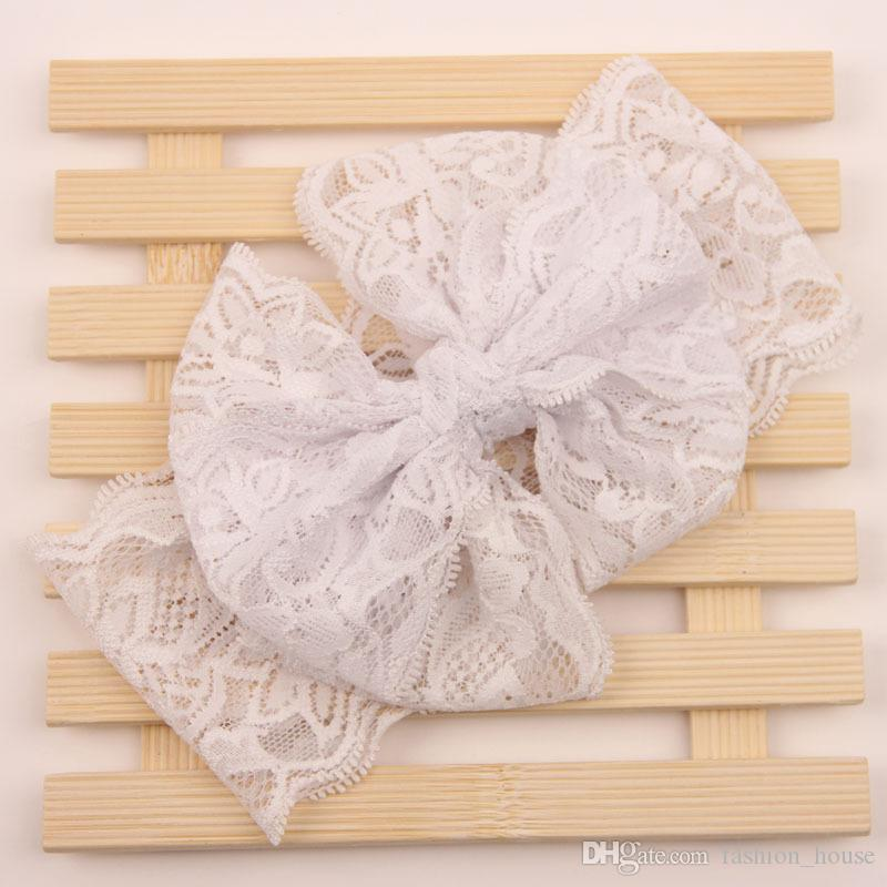 nueva del bebé del cordón del arco grande vendas niñas linda es banda para el cabello encantadora infantil Turbante niños Bowknot elástico Accesorios BY0000