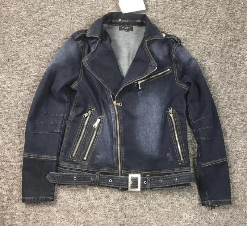 Autumn Winter French famous Brand Mens Motorcycle Biker Denim Jackets Stand Collar Zipper Jeans Coat High Quality 100% cotton coat jacket