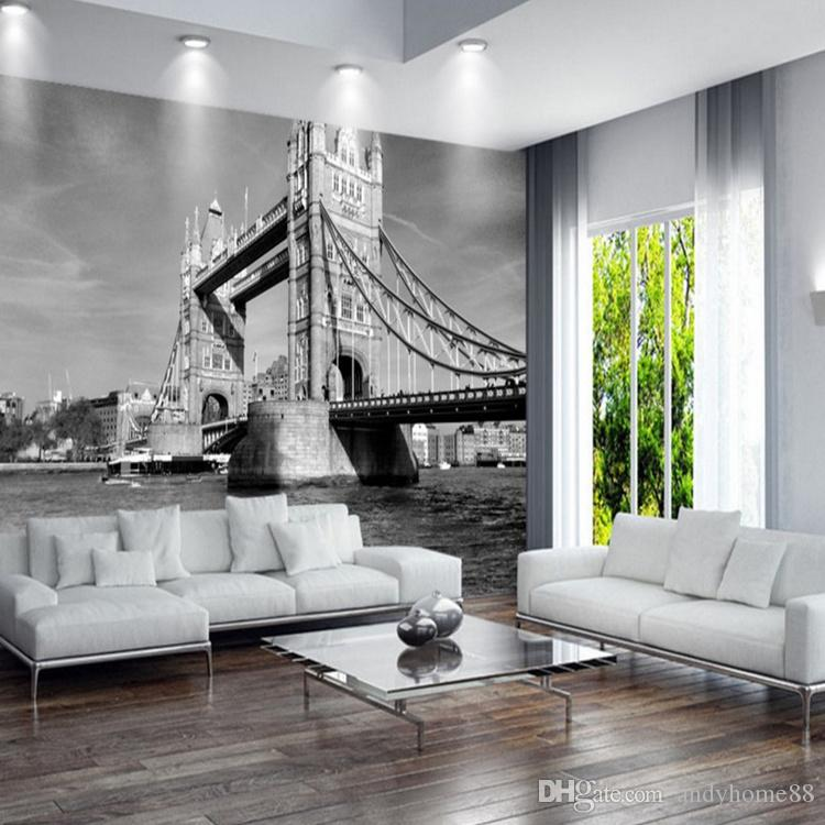 Acquista London Tower Bridge Retro Nero Bianco Europeo Architettura
