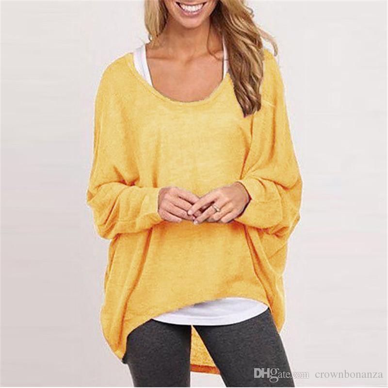 Mode Femmes Fille Printemps Autum Tops Blouses Shirts Tricot Pull Coton Mélange Baggy Jumper Batwing Lâche Pullover Livraison Gratuite
