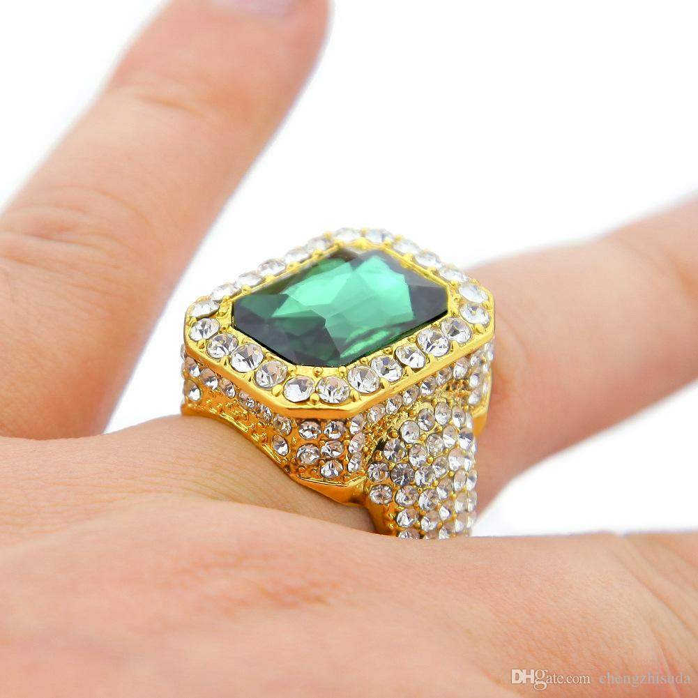 Men Gold Plated Ruby Hip Hop Men Ring Famous Brand Iced Out Micro Pave Ring Punk Rap Jewelry Size Available